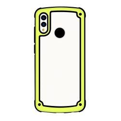 Solid Frame PC tok TPU Bumper tok Huawei Y7 2019 / Y7 Prime 2019 sárga telefon tok telefontok