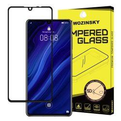 Wozinsky edzett üveg 5D Teljes Glue Super Tough képernyővédő fólia Teljes Coveraged kerettel Huawei P30 fekete kijelzőfólia üvegfólia tempered glass