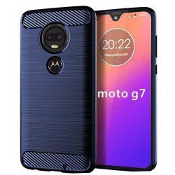 Carbon Case rugalmas Cover TPU tok Motorola Moto G7 / G7 Plus kék tok telefon tok hátlap