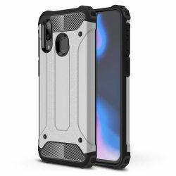 Hibrid Armor Case Kemény Robusztus Cover Samsung Galaxy A40 ezüst tok telefon tok hátlap