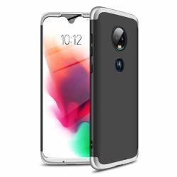 GKK 360 Protection Case Első és hátsó tok az egész testet fedő Motorola Moto G7 fekete - ezüst telefon tok telefontok