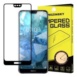 Wozinsky edzett üveg FullGlue Super Tough képernyővédő fólia Teljes Coveraged kerettel Case barát Nokia 7.1 fekete kijelzőfólia üvegfólia tempered glass
