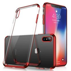 Clear Color Gel Case TPU Galvanizált keret Cover Samsung Galaxy A50 piros tok telefon tok hátlap