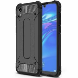 Hibrid Armor Case Kemény Robusztus Cover Huawei S5 2019 / Honor 8S fekete tok telefon tok hátlap