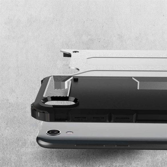 Hibrid Armor Case Kemény Robusztus Cover Huawei Y5 2019 / Honor 8S fekete telefon tok telefontok