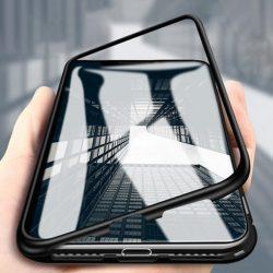 Wozinsky Mágneses Case Full Body Első és hátsó tok az OnePlus 7 Pro fekete tok telefon tok hátlap