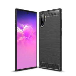 Carbon Case rugalmas Cover TPU tok Samsung Note 10 Plus fekete tok telefon tok hátlap