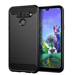 Carbon Case rugalmas Cover TPU tok LG Q60 fekete telefon tok telefontok