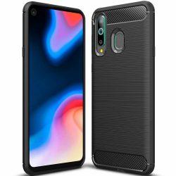 Carbon Case rugalmas Cover TPU tok Huawei Honor 20 Lite fekete tok telefon tok hátlap