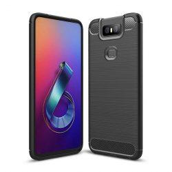 Carbon Case rugalmas Cover TPU tok Asus Zenfone 6 ZS630KL fekete tok telefon tok hátlap