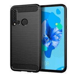 Carbon Case rugalmas Cover TPU tok Huawei P20 Lite 2019 / Huawei Nova 5i fekete telefon tok telefontok (hátlap)