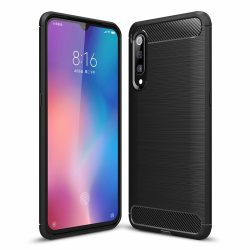 Carbon Case rugalmas Cover TPU tok Xiaomi Mi 9 SE fekete telefon tok telefontok