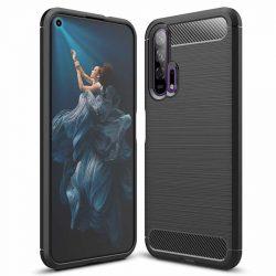 Carbon tok Rugalmas tok TPU tok Huawei Honor 20/20 Pro fekete telefontok