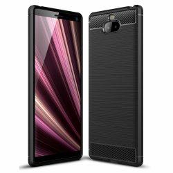 Carbon Case rugalmas Cover TPU tok Sony Xperia 10 Plus fekete tok telefon tok hátlap