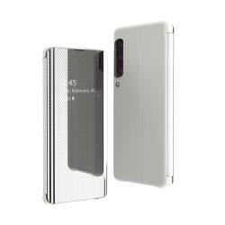Flip View tok Samsung Galaxy A70 ezüst tok telefon tok hátlap