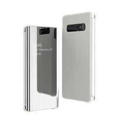 Flip View tok Samsung Galaxy S10e ezüst telefon tok telefontok