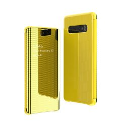 Flip View tok Samsung Galaxy S10e sárga tok telefon tok hátlap