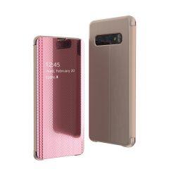 Flip View tok Samsung Galaxy S10 Plus rózsaszín tok telefon tok hátlap