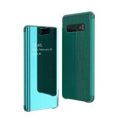 Flip View tok Samsung Galaxy S10 Plus zöld tok telefon tok hátlap