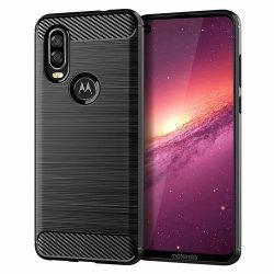Carbon Case rugalmas Cover TPU tok Motorola One Vision fekete tok telefon tok hátlap