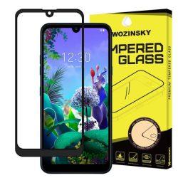 Wozinsky edzett üveg tempered glass tempered glass tempered glass Teljes Glue Super Tough képernyővédő fólia teljes képernyős kerettel tokbarát LG Q60 / LG K50 fekete telefontok hátlap tok