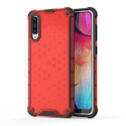 Honeycomb tok páncél telefontok TPU Bumper Samsung Galaxy A50 piros telefontok hátlap tok