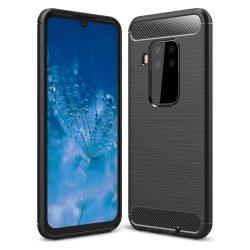 Carbon tok Rugalmas TPU tok Motorola Moto One Pro / fekete zoom telefon tok telefontok (hátlap)