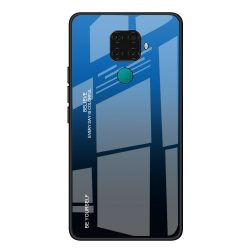 Gradiens Tartós üveg edzett üveg lap Lite Huawei Mate 30 / 5i Huawei Nova Pro fekete-kék tok telefon tok hátlap