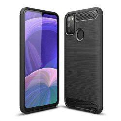 Carbon tok Rugalmas tok TPU tok Samsung Galaxy M30s fekete telefontok hátlap tok