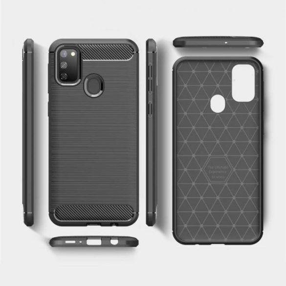 Carbon tok Rugalmas tok TPU tok Samsung Galaxy M30s fekete telefontok tok