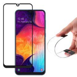 Wozinsky Full tok Flexi Nano üveg hibrid Screen Protector kerettel Samsung Galaxy A50 fekete telefontok hátlap tok