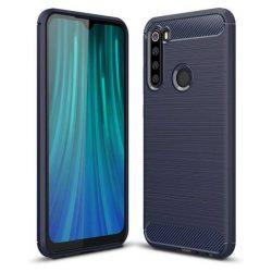 Carbon tok Rugalmas tok TPU tok Xiaomi redmi Note 8 kék telefontok hátlap tok