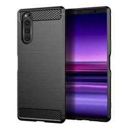 Carbon tok Rugalmas tok TPU tok Sony Xperia 5 fekete telefontok hátlap tok