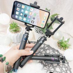 Universal Szelfi Selfie Stick Metal Bluetooth Fekete W Folii