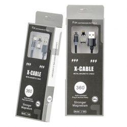 Kábel mágneses 3IN1 LIGHTNNG Type-c MICRO USB 1M Fekete