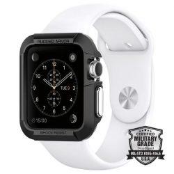 Spigen Robusztus Armor okosóra tok Apple Watch 3/2/1 - 38mm fekete védőtok az órára