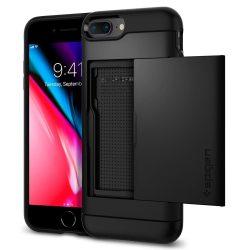 Spigen Slim Armor CS pénztárca telefon tok iPhone 8 Plus / 7 Plus fekete (fekete) tok telefon tok hátlap