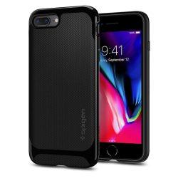 Spigen Neo Hybrid Herringbone telefon tok iPhone 8 Plus / 7 Plus fekete (fényes fekete) tok telefon tok hátlap