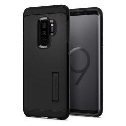 Spigen Kemény páncél kitámasztó telefon tok Samsung Galaxy S9 Plus G965 fekete telefon tok telefontok