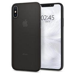 Spigen AirSkin ultravékony telefon tok iPhone XS / X fekete (fekete) tok telefon tok hátlap