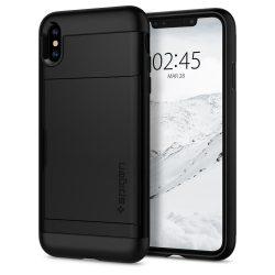 Spigen Slim Armor CS pénztárca telefon tok iPhone XS / X fekete (fekete) tok telefon tok hátlap