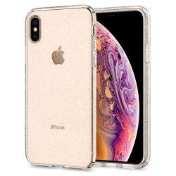 Spigen Liquid Crystal Glitter tok fedél iPhone XS / X átlátszó (Glitter Crystal) tok telefon tok hátlap