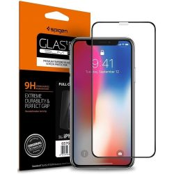 Edzett üvegfólia SPIGEN ÜVEG FC iPhone XI 5.8 / iPhone XS / iPhone X BLACK kijelzőfólia üvegfólia tempered glass