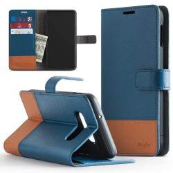 Ringke Wallet 2in1 Leather Phone telefon tok hátlap tok és pénztárca-kártya foglalattal Holder Samsung Galaxy S10e kék ((WLSG0016-RPKG))