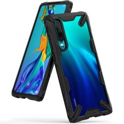 Ringke Fusion X tartós PC telefon tok telefontok (hátlap) TPU bumper Huawei P30 fekete (FXHW0013)