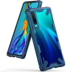 Ringke Fusion X tartós PC telefon tok telefontok TPU bumper Huawei P30 kék (FXHW0014)