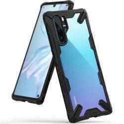Ringke Fusion X tartós PC telefon tok telefontok (hátlap) TPU bumper Huawei P30 Pro fekete (FXHW0015)