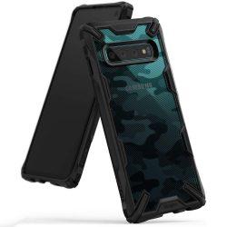 Ringke Fusion X design tartós PC telefon tok telefontok TPU bumper Samsung Galaxy S10 fekete Camo Fekete (XDSG0001)