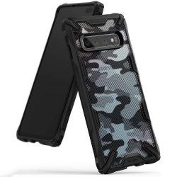 Ringke Fusion X design tartós PC tok telefon tok hátlap TPU bumper Samsung Galaxy S10 Plus fekete Camo Fekete (XDSG0006)