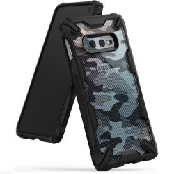 Ringke Fusion X design tartós PC tok TPU Bumper tok Samsung Galaxy S10e fekete Camo Fekete (XDSG0011 - RPKG) tok telefon tok hátlap